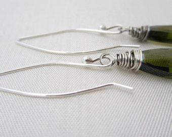 Long Dangle Earrings, Olivine Earrings, Green Earrings