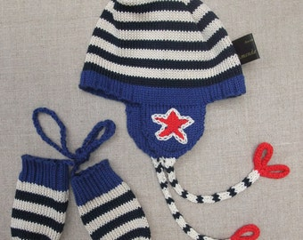 Knitted cotton hat & separate mittens