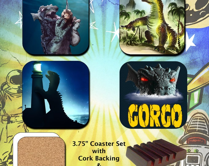 Gorgo and Beast from 20,000 Fathoms Monster Coaster Set