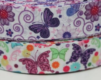 Rainbow Purple Butterfly 7/8 Grosgrain Ribbon by the Yard for Hairbows, Scrapbooking, and More!!