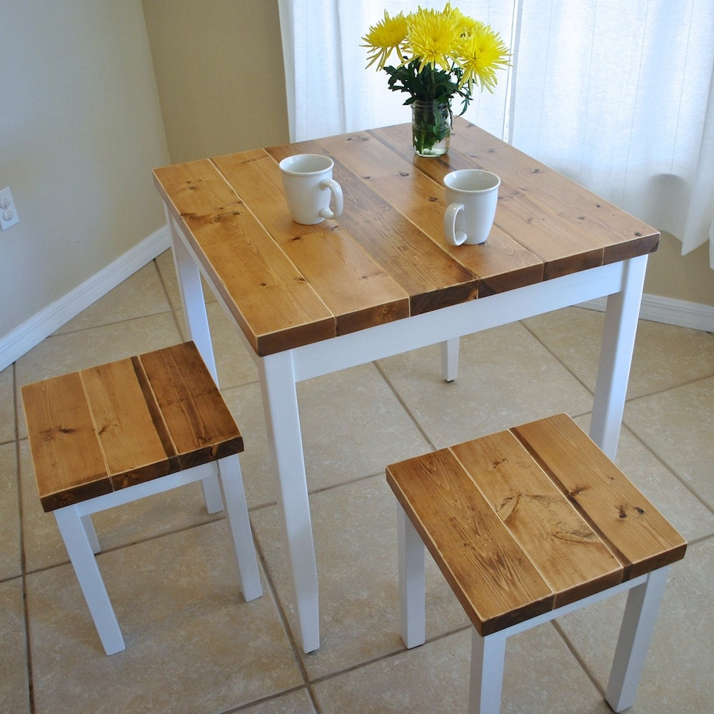Farmhouse breakfast table or dining table set with or without for Small dining table with stools