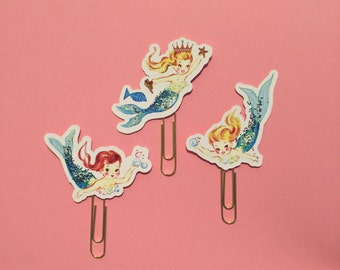 set of 3 Mermaid decorative Planner Clip Bookmark paperclip page marker