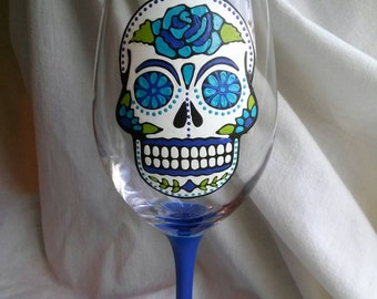 Sugar Skull Hand Painted Wine Glass Day of the Dead Dia De Los Muertos Turquoise Royal Blue Green