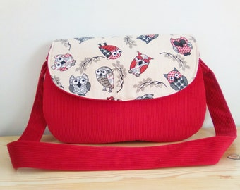 Owls bag, owls clutch,red clutch,corduroy bag,owls handbag,owls tote,owls fabric,owl bag,kawaii bag,canvas clutch,red handbag,red purse