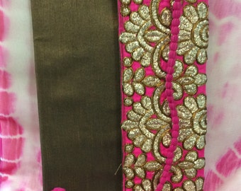 Designer Dupioni Silk Clutch Purses With Designer Border