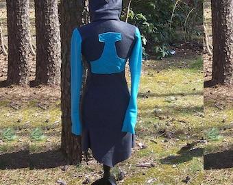 Viking Mjolnir Hoodie Dress - Thor's Hammer - Heathen Pagan Norse Hoodie - Fairy Pixie Elf Elven Hoodie - Fleece Clothing Shirt - XS