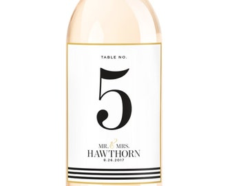Wedding Wine Table Numbers - Wine Bottle Labels - Self Adhesive Weatherproof Wine Labels - Watercolor Floral Wedding Decorations