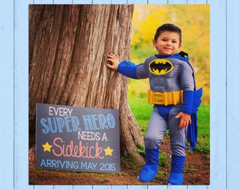 Super Hero Pregnancy Announcement Chalkboard Poster | Every SuperHero Needs a Sidekick | Photo Prop Board | Brother | *DIGITAL FILE*