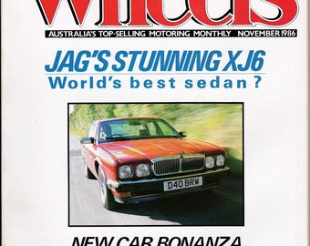 Gift For Him November 1986 Vintage Car Magazine Wheels Magazine Man Cave Gift Idea 30th Birthday Men's Gift 1980s Vintage Car Magazine