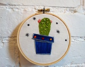 Handmade Cactus embroidery hoop,  Personalized Hand Stitched Hoop Art