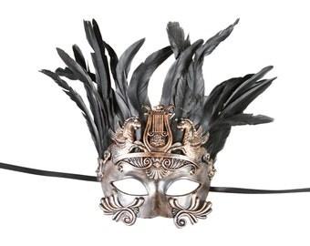 Bronze Roman Gladiator Chariot Masquerade Mask Inspired Costume Dance Halloween Men Unisex Venetian.