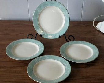 Homer Laughlin Plates, Romance Pattern, Turquoise Plate Set, Salad Plates, Vintage, Replacements, Fine China, Vintage China, China Plates
