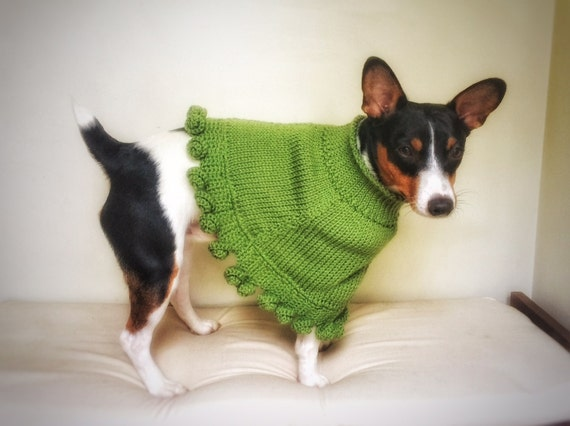 Crochet Knit Dog Poncho Cat Cape Unique Handmade Green Photo