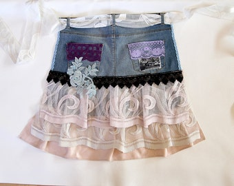Lovely apron/denim recycled apron/half apron/ooak/unique apron/altered couture/steampunk apron