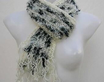 Cream and black scarf, reclaimed yarn scarf, upcycled scarf, striped scarf, repurposed scarf, cream scarf, gray scarf, recycled yarn scarf