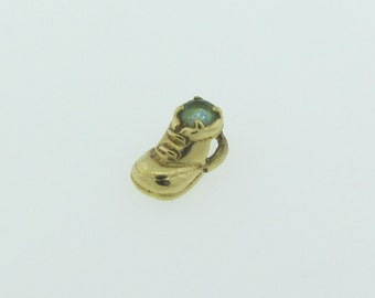 Small Gold and Emerald Shoe Charm