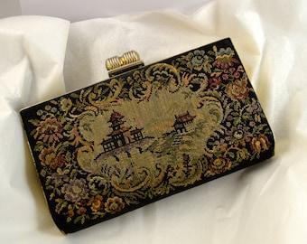 Elegant Black Clutch Tapestry Evening Bag