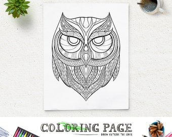 Printable Coloring Pages Owl Head Animal Page Adult Book Antistress Zen