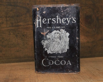 Antique Hershey's Cocoa Tin Can Vintage Food Advertising Bean Pod Baby 1906-1911 Edwardian Chocolate