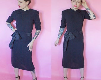 1940s Dress / 40s Dress / 1950s Black Dress / 50s Wiggle Dress w/ Bow Sash Carlye
