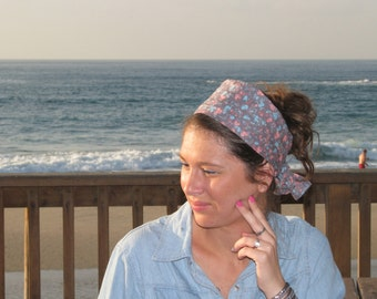 Floral head scarf, hair covering,tichel,head wrap,women wide headband,hair wrap,hair scarves