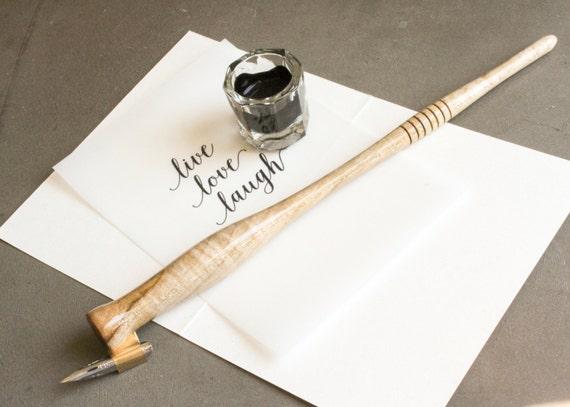 Handmade Maple Calligraphy Pen Oblique Calligraphy Nib