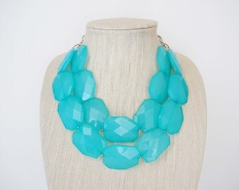 SALE // Light Turquoise Blue Statement Necklace