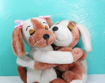 Vintage 1976 R. Dakin Hugging Dogs, Plush Dogs, Stuffed Hugging Dogs, Boy and Girl Dogs with Velcro Hands