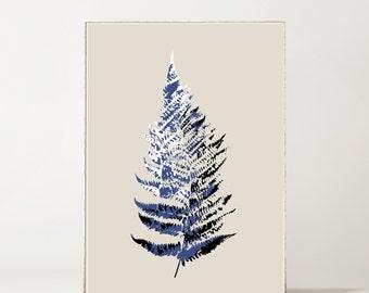 Fern Botanical Giclée Print Blue + White on Putty