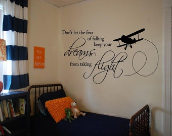 Vinyl Fear of Falling Wall Decal, Vinyl Wall Decor, Vinyl Wall Quote, Vinyl Plane, Plane Decor, Vinyl Quotes