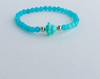 aquamarine - Men bracelet - energy bracelet - beaded bracelets - yoga bracelet - blue bracelet - stretch bracelet - stone bead - blue buddha