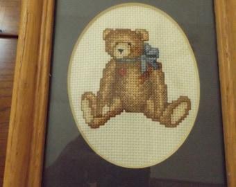 On Sale! Vintage Needlepoint Teddy Bear, Decor, Wall hanging, Children