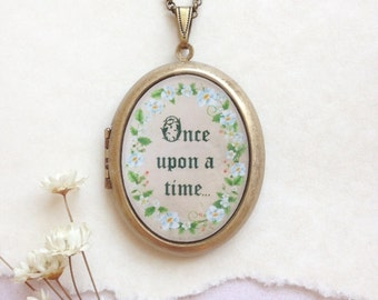 Once Upon a Time Locket - Flowering Vine Botanical Fairytale - Brass Photo Locket Necklace