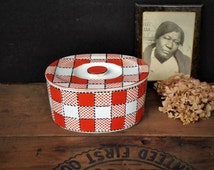 Vintage Refrigerator Dish Checkers Japan Covered Ceramic Plaid Container