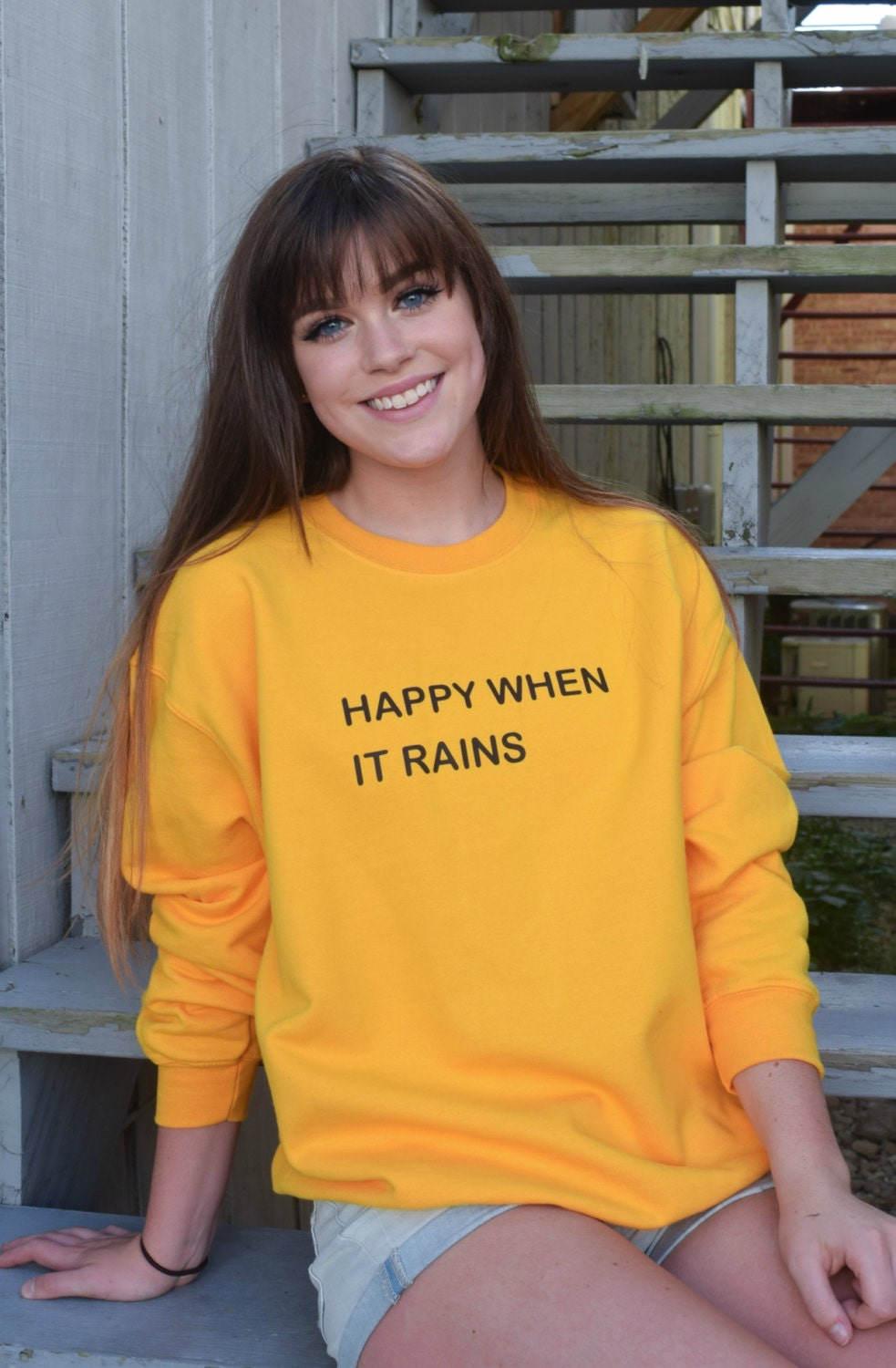 Happy When it Rains Tumblr Saying Fall Sweater In Yellow and