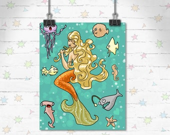 Mermaid Art, Ocean Art Print, Children's Decor, Kids Room, Cute Art, Funny Art, Mermaid Decor, Art Print, Giclee Print, Archival Print