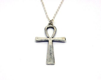 Ankh Necklace // Silver // Pendant // Alternative // Pagan // Nu Goth // Egyptian Cross