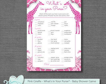 Pink Giraffe What's in Your Purse Baby Shower Game, Printable Baby Game, Instant Download, Purse Game, Printable Purse Game, Safari, 109G