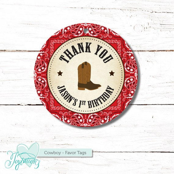cowboy thank you tag personalized favor tag printable gift tag