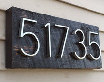 Popular items for rustic house numbers on etsy for Mid century modern address numbers