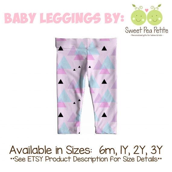 Minimalist Purple Black Triangles Print Baby Leggings