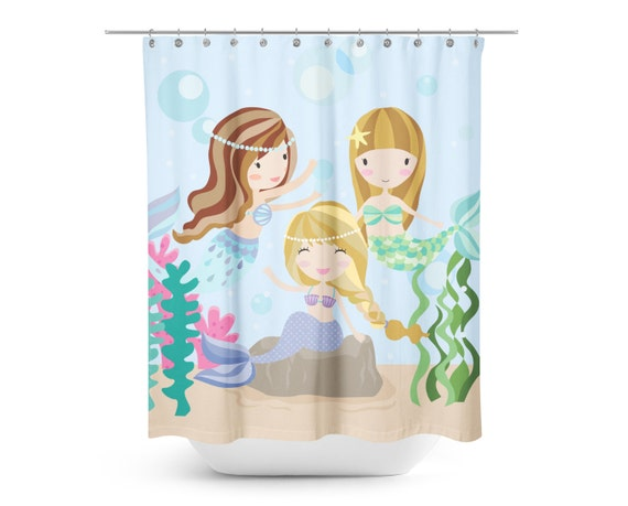 Under The Sea Mermaid Friends Shower Curtain Kids Shower