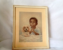 vintage Boy and Puppy Praying - Litho titled Lead Us - Artist Erna Kasabach - African American Boy - Bedtime Prayers Wood Framed Print