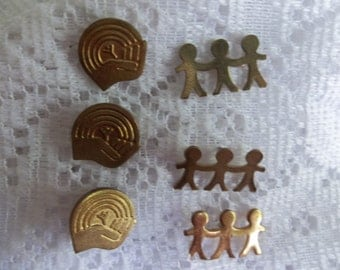 Set of two United way Vintage lapel pin, charity pins, children holding hands pin