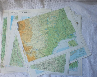 Set of 14 large Atlas Pages