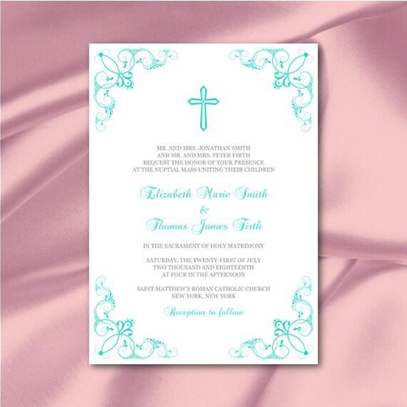 Catholic Wedding Invitations: Catholic Wedding Invitation Template By WeddingPrintablesDiy