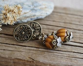 "Bohemian ""Savannah"" Dangle Stud Earrings, Boho Chic Gypsy Rustic Tribal Ethnic Woodland Earthy Nature Wood Bead Drop Earrings, Womens Gift"