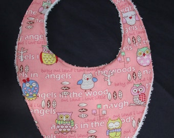Pink Owls and towelling baby bib