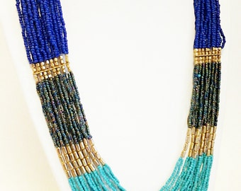 Teal, Blue and Gold Long Statement Necklace / Multi Strand Necklace.