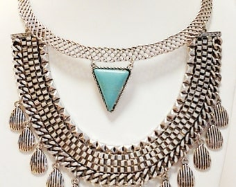 Silver Tribal Style Necklace / Turquoise and Silver Necklace.